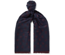 Fringed Wool And Silk-blend Jacquard Scarf - Navy