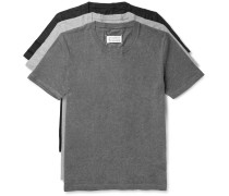 Three-pack Slim-fit Crinkled Cotton-jersey T-shirts
