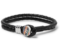 Woven Leather And Enamelled Silver-tone Bracelet - Black