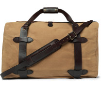 Leather-trimmed Twill Duffle Bag - Tan