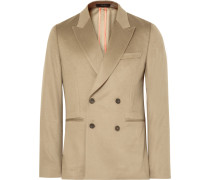 Beige Soho Slim-fit Double-breasted Cashmere Blazer