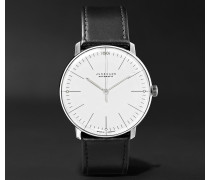 Max Bill Automatic 38mm Stainless Steel And Leather Watch - White