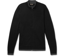 Contrast-Tipped Cotton and Cashmere-Blend Zip-Up Cardigan