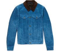 Corduroy-trimmed Suede Trucker Jacket - Blue