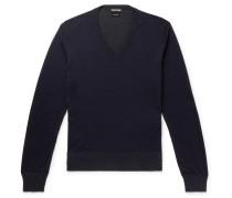 Slim-fit Silk Sweater - Navy