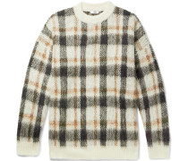 Micha Oversized Checked Knitted Sweater - Off-white
