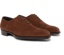 + George Cleverley Whole-Cut Suede Oxford Shoes