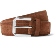 3cm Brown Suede Belt - Tan