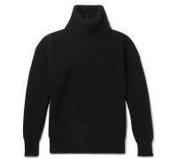 Ribbed Merino Wool Rollneck Sweater
