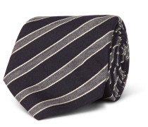 8cm Striped Wool And Silk-blend Tie - Midnight blue
