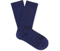 Logo-intarsia Ribbed Stretch Cotton-blend Socks