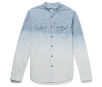 Slim-Fit Grandad-Collar Dégradé Striped Cotton Shirt