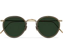 Windsor Round-Frame Gold-Tone and Tortoiseshell Acetate Polarised Sunglasses