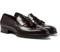 Elkan Leather Tasselled Penny Loafers - Dark brown