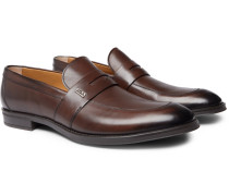 Coventry Burnished-leather Penny Loafers - Brown