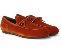 Trinity Leather-trimmed Intrecciato Velvet Loafers - Orange