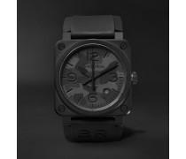 Black Camo Automatic 42mm Ceramic and Rubber Watch, Ref. No. BR0392-‐CAMO-‐CE/SRB