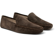 Maurice Cashmere-lined Suede Slippers - Brown