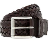 4cm Dark-Brown Woven Leather Belt