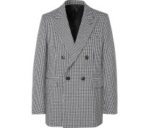 Black Oversized Double-Breasted Houndstooth Virgin Wool-Blend Blazer