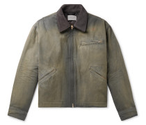 Suede-Trimmed Cotton-Canvas Jacket