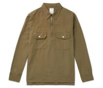 Cotton And Linen-blend Half-zip Shirt