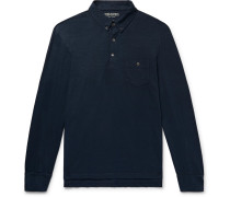 Button-down Collar Slub Cotton-jersey Polo Shirt - Storm blue
