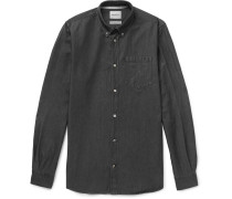 Anton Button-down Collar Denim Shirt - Black