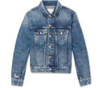 Slim-fit Distressed Denim Jacket