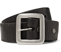 3.5cm Black Burlington Distressed Leather Belt - Black