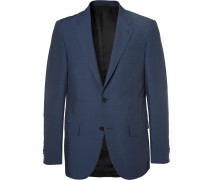 Navy Milano Slim-fit Wool And Silk-blend Suit - Navy