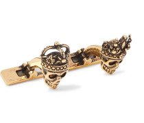 King And Queen Skull Burnished Gold-tone Cufflinks - Gold