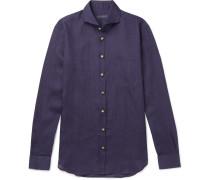 Slim-fit Cutaway-collar Linen-chambray Shirt