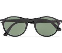 Round-frame Acetate And Silver-tone Sunglasses - Black