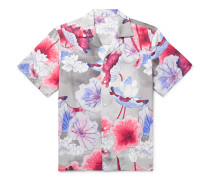 Camp-Collar Printed Lyocell Shirt