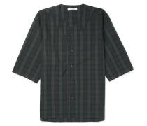 Handyman Collarless Checked Cotton-blend Ripstop Shirt
