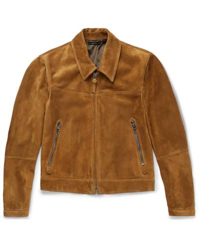 Slim-fit Suede Blouson Jacket