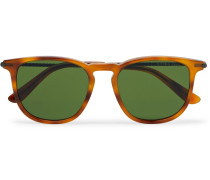 Square-frame Tortoiseshell Matte-acetate And Gunmetal-tone Sunglasses