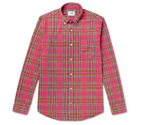 Button-Down Collar Checked Brushed Cotton-Flannel Shirt