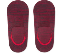 Saint Lucia Space-dyed Stretch Cotton-blend No-show Socks - Red