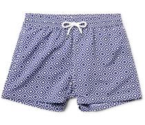 Angra Slim-fit Short-length Printed Swim Shorts - Blue