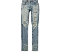 Mx1 Skinny-fit Leather-panelled Distressed Stretch-denim Jeans