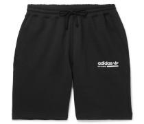 Wide-leg Logo-print Fleece-back Cotton-jersey Shorts - Black