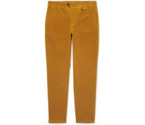 Fishtail Stretch-cotton Corduroy Trousers - Yellow