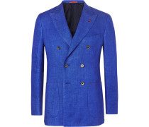 Blue Unstructured Double-breasted Mélange Linen Blazer