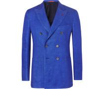 Blue Unstructured Double-breasted Mélange Linen Blazer - Blue
