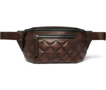 Quilted Leather Belt Bag - Brown
