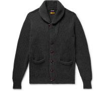 Slim-fit Shawl-collar Ribbed Wool Cardigan - Charcoal