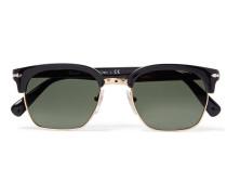 D-frame Gold-tone And Acetate Sunglasses - Black