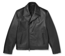 Full-grain Leather Biker Jacket - Black